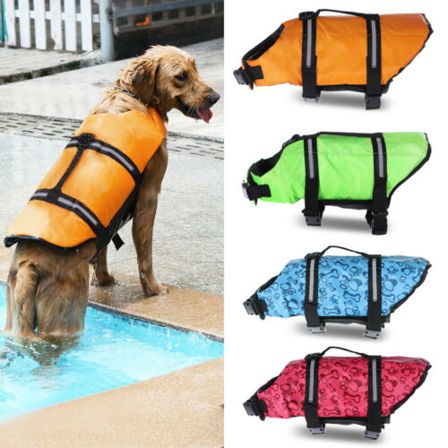 Pet Swimming Safety Vest Dog Life Jacket Reflective Stripe Preserver Puppy US Dog Supplies
