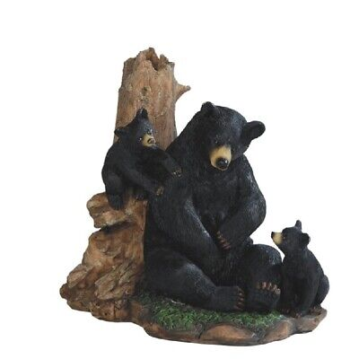 Sitting Black Bear With Cubs Figurine New