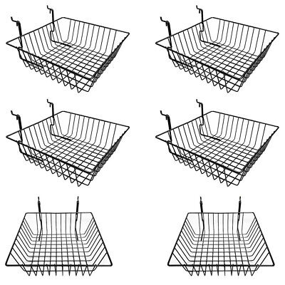 6 Pc Metal Wire Black Slatwall Gridwall Pegboard Small Double Sloping Basket