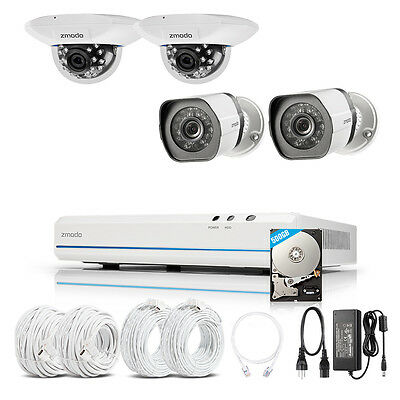Zmodo 8CH 1080p HDMI NVR 4 1.0MP Network PoE Home Security Camera System 500GB