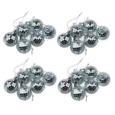 24x Glitter Lightweight Silver Mirror Disco Dance Party Ball Mirror Glass Decor