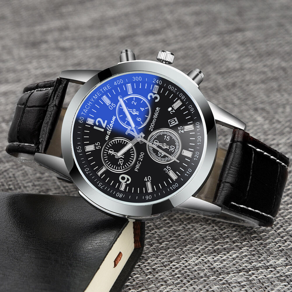 Mens Stainless Steel Analog Wrist Watch Leather Date Army Quartz Relojes SSSS