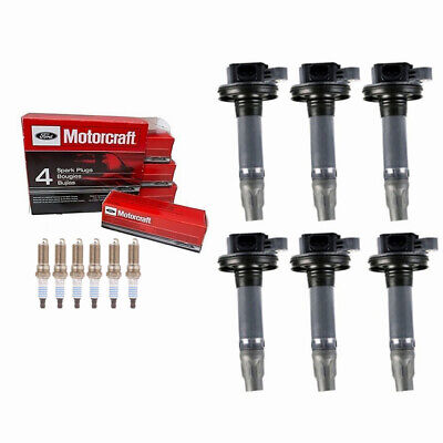 UF553 6pcs Ignition Coil and SP411 Spark Plug For Ford Lincoln Mazda Mercury