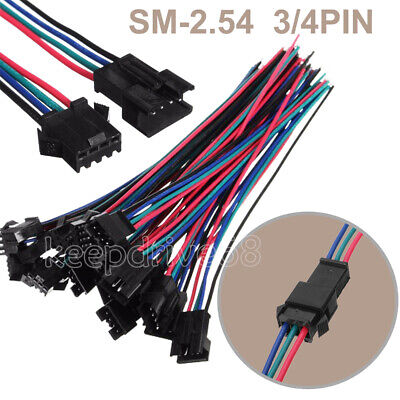 10 Sets Jst Sm 3pin 4pin 15cm 22awg Wire Male Female Connectors Wire 2.54mm Kd