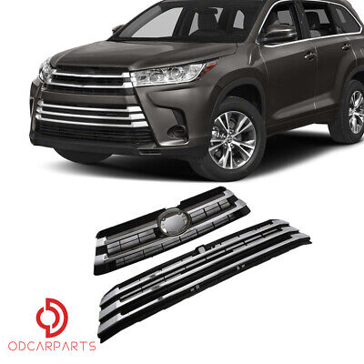 Fits 2017 2018 2019 Toyota Highlander Front Upper and Lower Grille Chrome