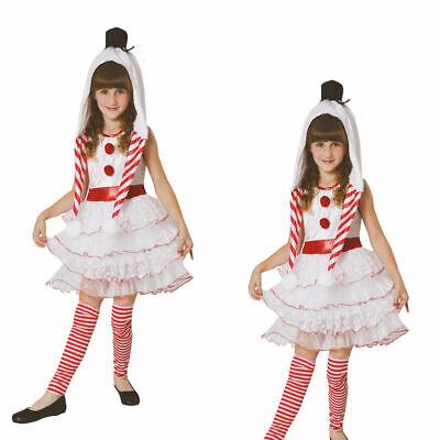 Snowgirl Mädchen Kinder Schneemann Weihnachten Kostüm Kleid Outfit Alter 4-12