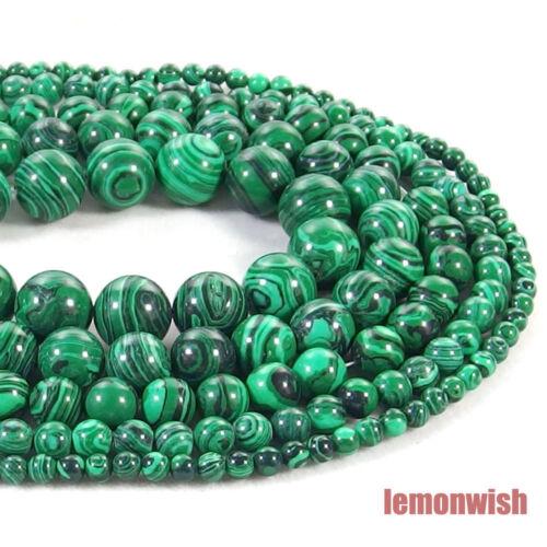 Malachite Gemstone Round Spacer Beads 15.5