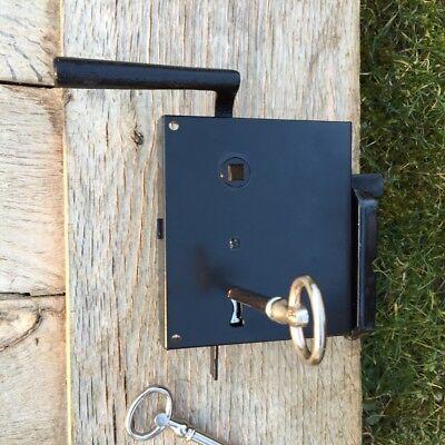 Kastenschloss mit Langschild DIN links + Klinke, schwarz + Schlüssel