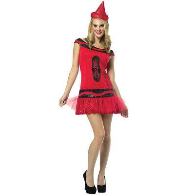 RED CRAYOLA DRESS COSTUME RUBY CRAYON WOMENS LADIES FANCY DRESS OUTFIT (Crayola Crayon Outfit)