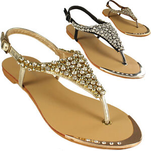 Womens Ladies Flat Strappy Diamante Stud Gladiator Flip Flop T Bar Sandals Shoes