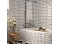 Brand new 150x75 unpacked ceramic tiles (White Chapel Brick Gloss Tiles)