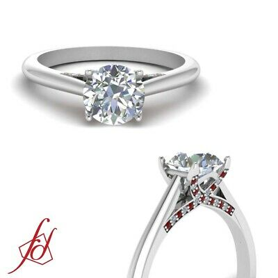 One Carat Round Cut Diamond And Ruby Gemstone Cathedral Trellis Engagement Ring