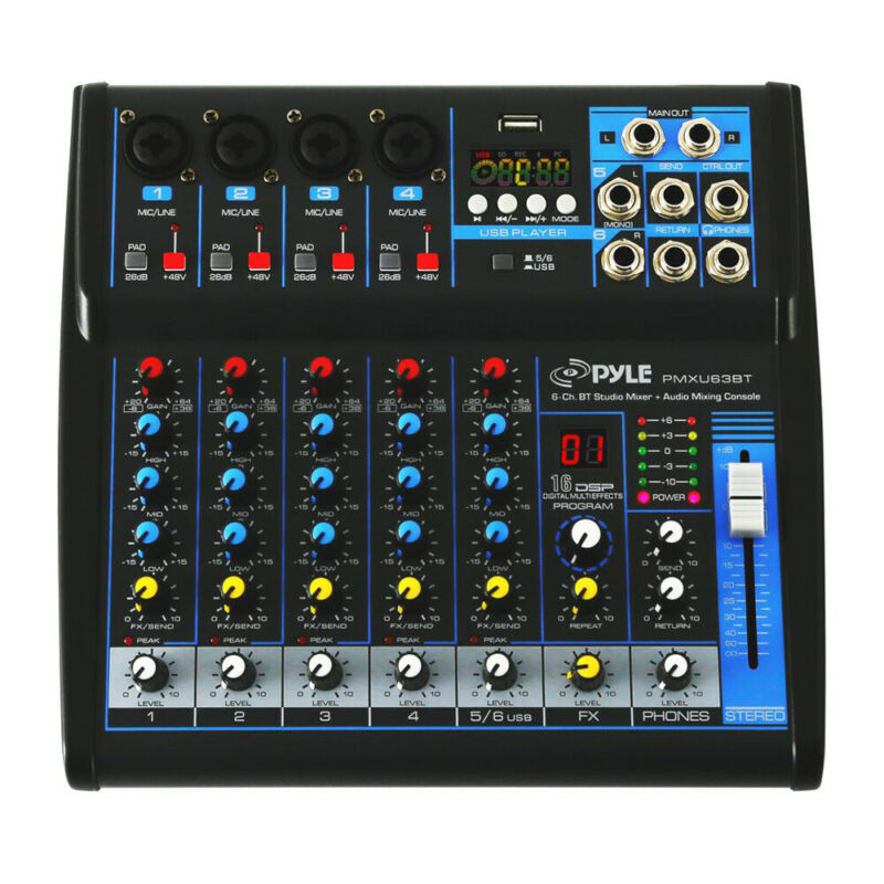 Pyle PMXU63BT 6 Channel Bluetooth Sound Board Mixer System for DJ Studio Audio