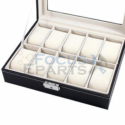 10 Grids Watch Box Glass Top Display Jewelry Organizer Storage Leather Case