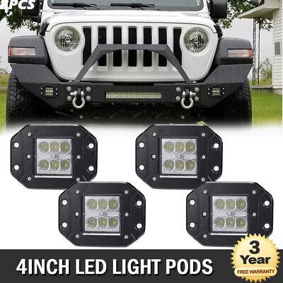 4x 4'' Flood LED Cube Pods Fog Lights Flush Mount Trucks Square Reverse lights