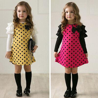 Toddler Kids Baby Girls Tulle Princess Dress Sundress Long Sleeve Party Dresses