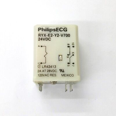 New Philips Ecg Rly2743p Ryx-e2-y2-v700 24 Volt Dc Coil Dpdt P.c. Mount Relay