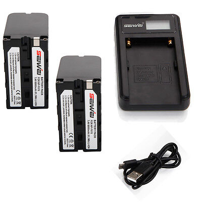 NP-F970 NPF970 Li-ion Battery for Sony NP-F550 F570 / 2PCS + USB Charger set