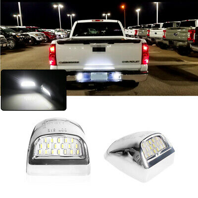 Chrome Silver Full White LED License Plate Lamps For GMC Sierra 1500 2500 3500