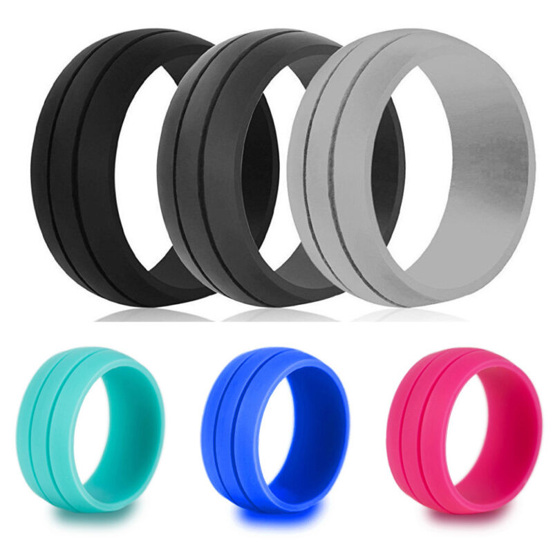 Women Wedding Finger Ring Rubber Silicone Band Sport Size 6/7/8/9/10/11/12