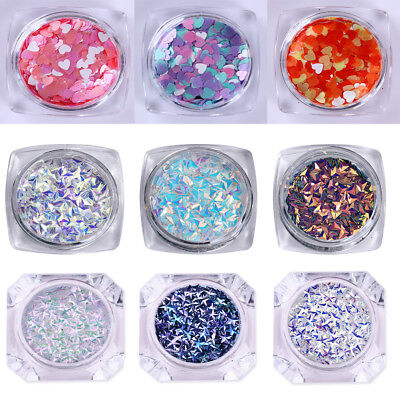 3D Nail Art Decoration AB Color Triangle Round Heart Flakies Glitters Sequins - Heart Glitter