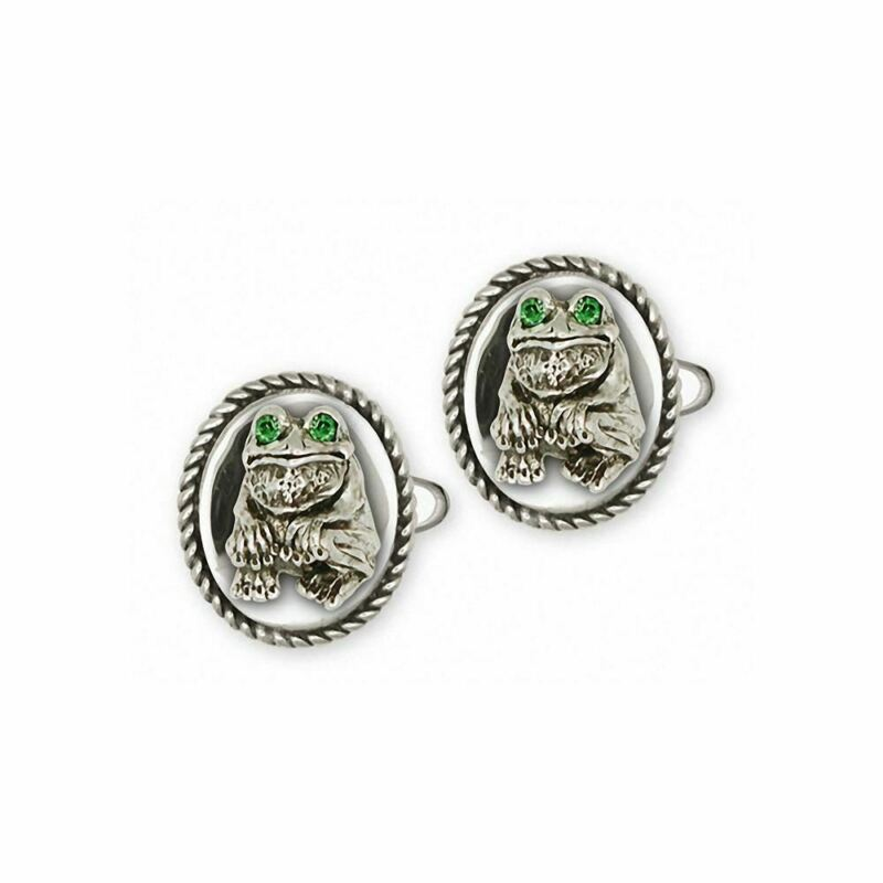 Frog Cufflinks Jewelry Sterling Silver Handmade Frog Cufflinks FG10-XCL