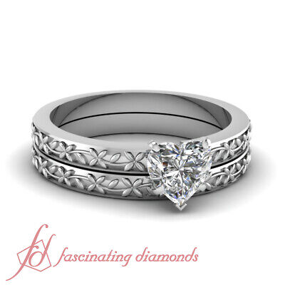 3/4 Carat Heart Shaped D COLOR Diamond Solitaire Engagement Rings And Band GIA