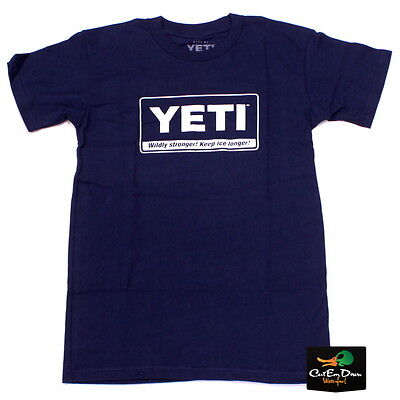 NEW YETI COOLERS BILLBOARD LOGO T-SHIRT SHORT SLEEVE SMALL NAVY BLUE Logo Small Cooler