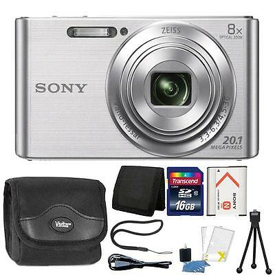 Sony DSC-W830 20.1MP Point and Shoot Digital Camera Silver + 16GB Accessory Kit