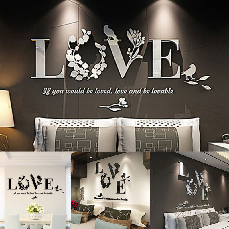 Home Decoration - Mirror Decal Art Mural Wall Stickers Home Room DIY Love Decoration Removable