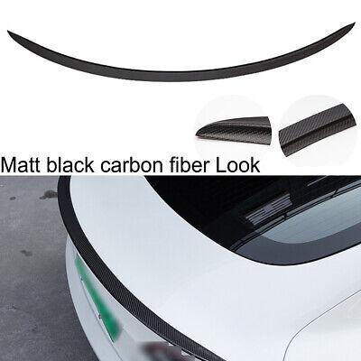 Tail Wing Rear Spoiler Trunk Matt Carbon Fiber Look For Tesla Model 3 2017-19