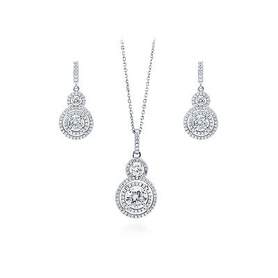 BERRICLE Sterling Silver Round Cut CZ Halo Bridesmaids Necklace and Earrings Set