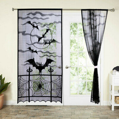2xBlack Lace Spider Web Window Door Curtain Panel Drape Halloween Haunted House - Spider Lace
