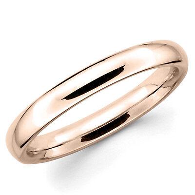 14K Solid Rose Pink Gold 3mm Plain Men's and Women's Wedding Band Ring (Pink And Gold Wedding)