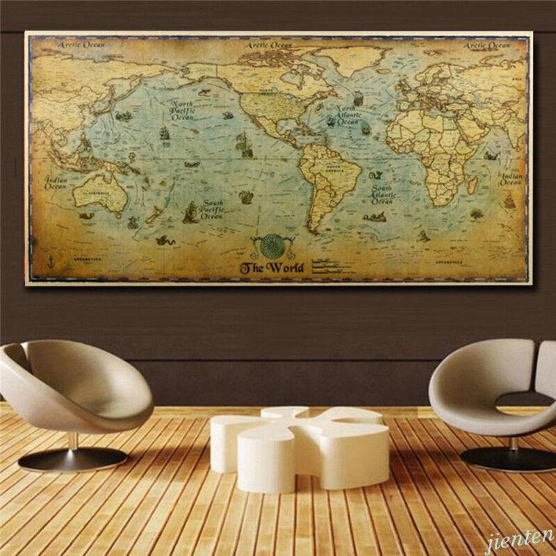 Vintage World Map Home Decor Detailed Poster Wall Chart Retro Matte Kraft Paper