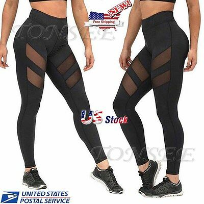 Leggings - Womens Mesh Stretchy Workout Sports Fitness Gym Yoga Long Skinny Leggings Pants