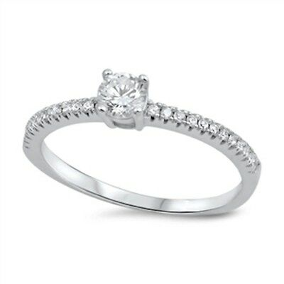 Round Cz Promise  .925 Sterling Silver Ring Sizes 4-10 4 Round Czs Ring
