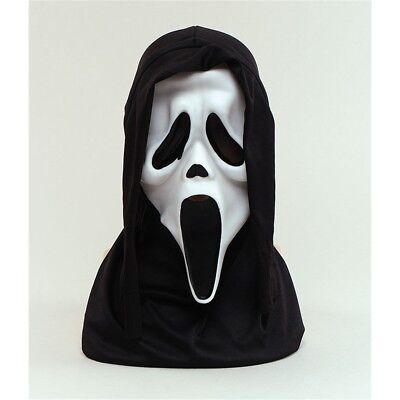 Halloween White Scream Face Mask With Hood Scary Fancy Dress - Party Horror (Scream Halloween Party)