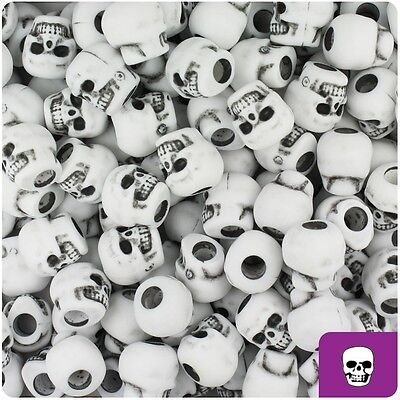 150 White Antique 11mm Skull Pony Beads Made in the USA ()