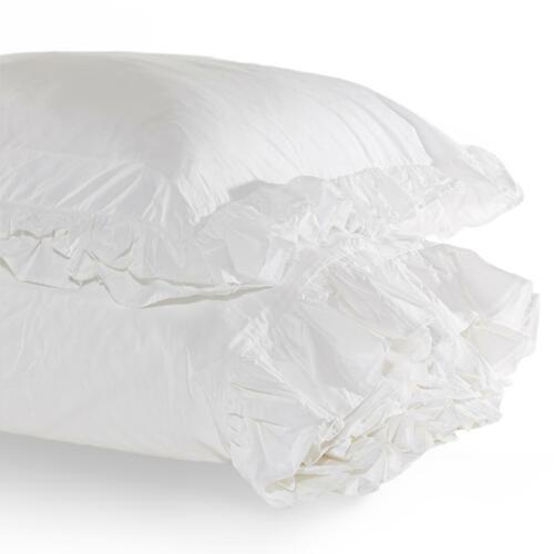 Rachel Ashwell Shabby Chic Couture LILIPUT White DOUBLE RUFFLE Euro Shams Pair