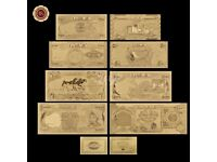 Iraq Dinar Gold Banknote Set 8 PCS 25-25000 Novelty 99.9% 24k Gold Foil Free COA