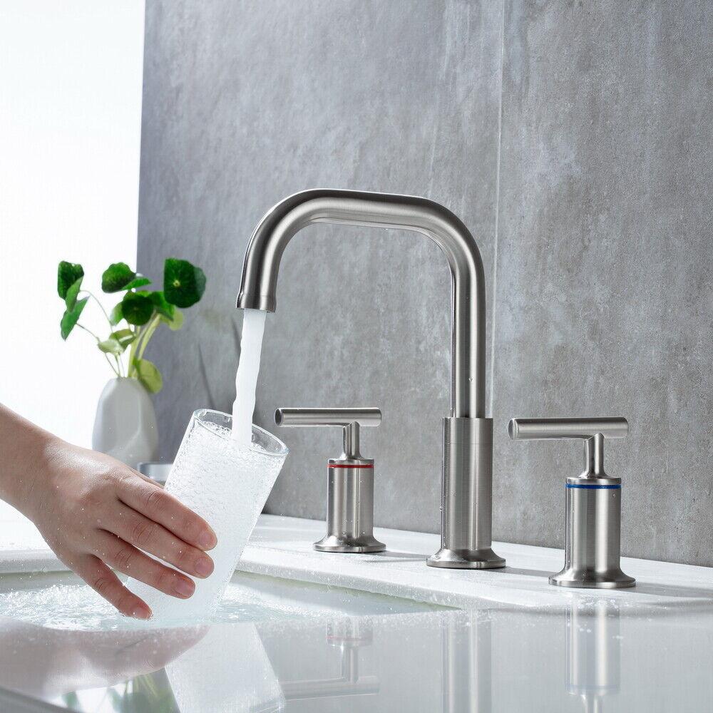 Widespread Bathroom Basin Sink Faucet Mixer Tap 3 Hole 2 Handle W/ Pop Up Drain 6