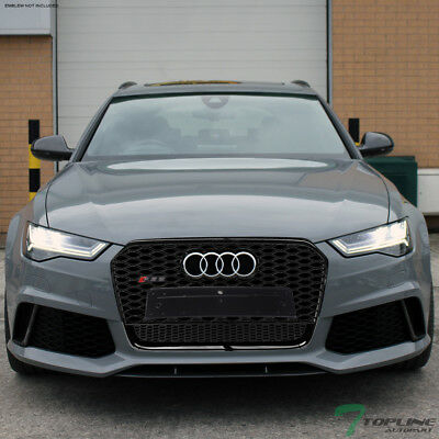 Topline For 2012-2015 Audi A6 RS Honeycomb Mesh Front Bumper Grille - Blk/Chrome