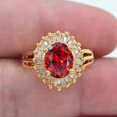 18K Yellow Gold Filled Red Ruby Topaz Solitaire Engagement Gems Ring (18k Yellow Gold Solitaire Ring)