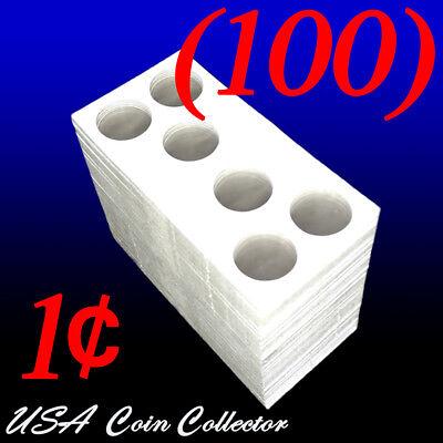 (100) 3-Hole Penny Size 2x2 Mylar Cardboard Coin Flips Storage   Paper Holder