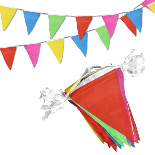 Novelty Place 100 Feet Pennant Banner - 75 Multicolor Bunting Flags Party Decors