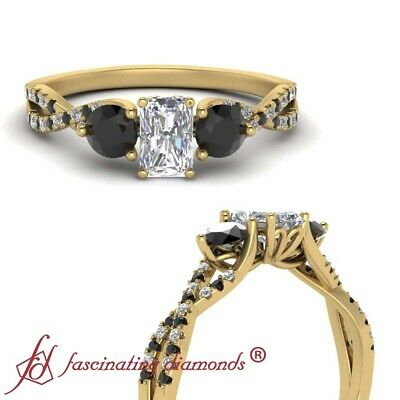 3 Stone Infinity Twist Engagement Ring With Radiant Cut And Black Diamond 1 Ctw