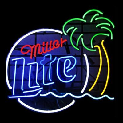 New MILLER LITE PALM TREE Real Neon Sign Wall Decor Beer Bar -