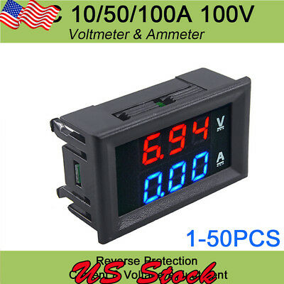 Dc 100v 1050100a Voltmeter Ammeter Digital Volt Amp Meter Gauge Led Amp Dual