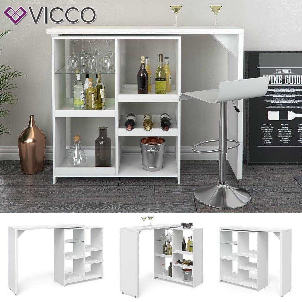 VICCO Bartisch VEGA Weiß Bartresen Stehtisch Tisch Tresentisch Bistrotisch Küche